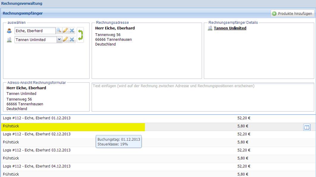 Wie kann ich das Buchungsdatum einer Rechnungsposition einsehen?