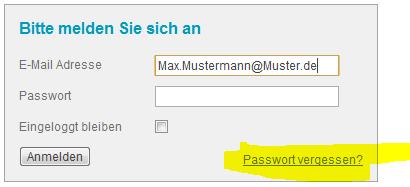 Was mache ich, wenn ich mein Passwort vergessen habe