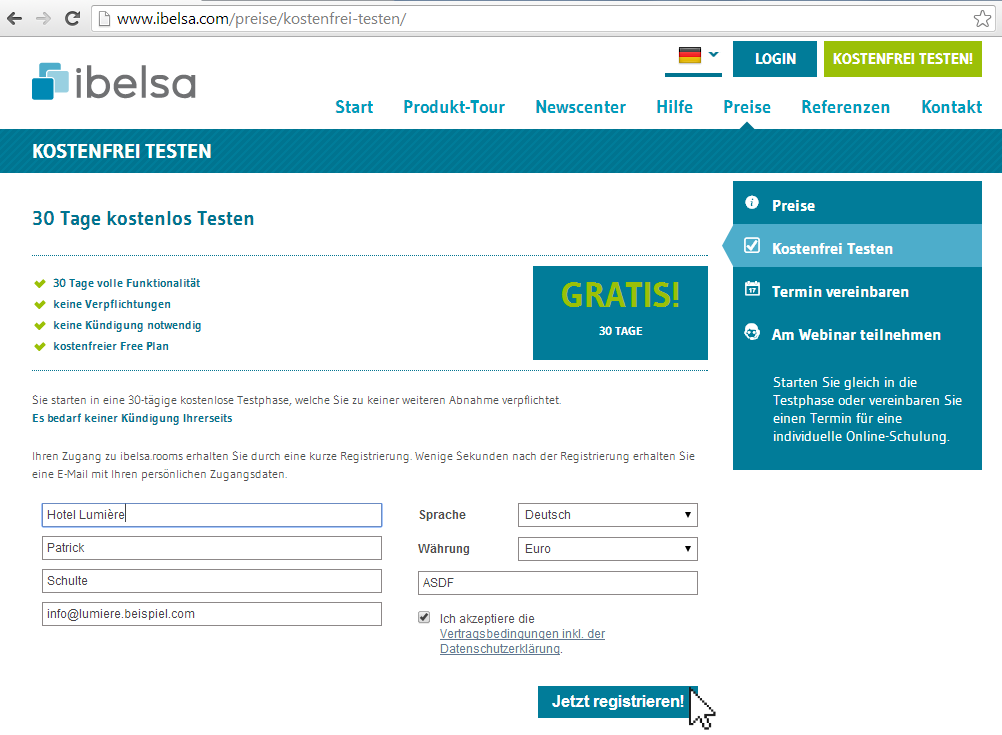 Wie registriere ich mich für ibelsa.rooms